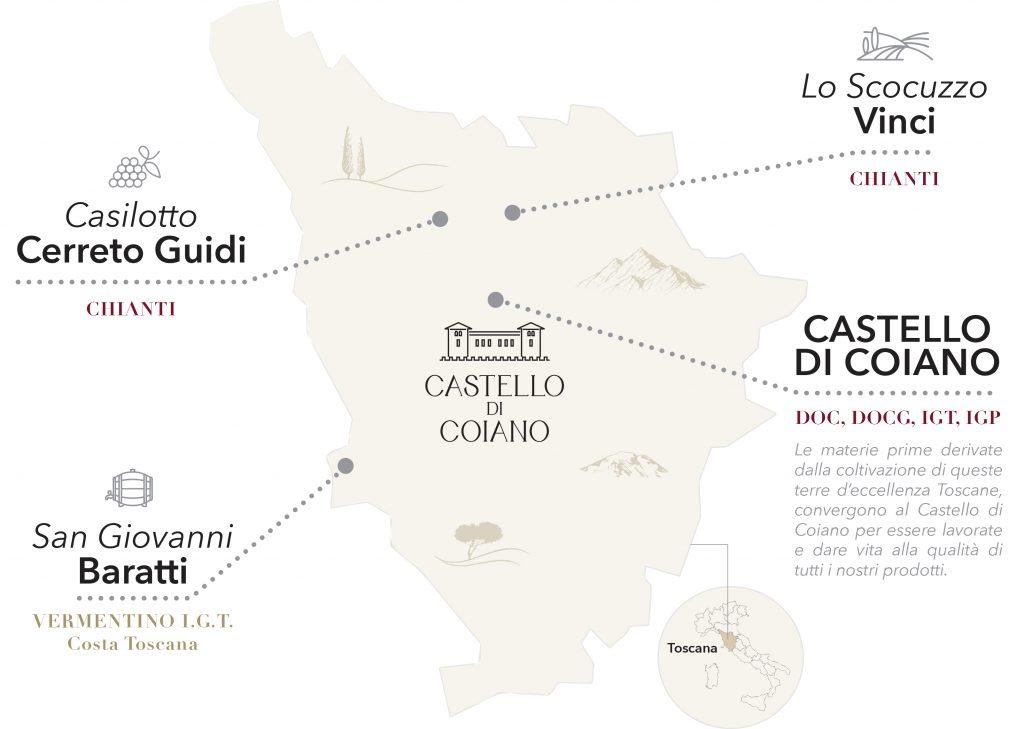 Terre di Chianti - Mappa delle terre di produzione dei vini toscani